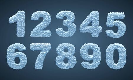 Blue snowy numbers, winter font.