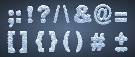 Blue snowy alphabet, winter font. Part 5 Ilustracja