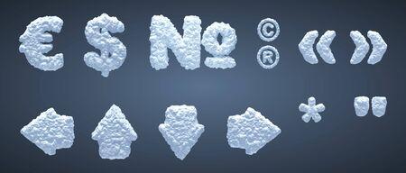 Blue snowy alphabet, winter font. Part 6