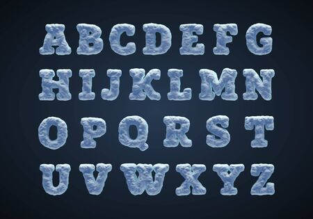 Blue snowy alphabet, serif type. Ilustracja