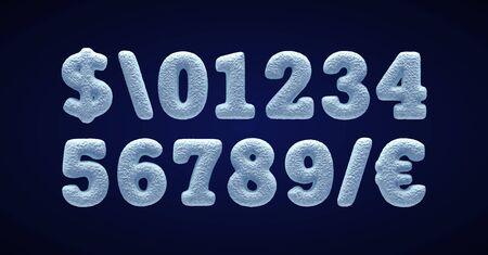 Blue snowy alphabet, winter font.