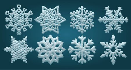 Set of vector snowflakes, volumetric decorative snow.
