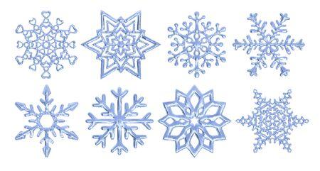 Set of vector snowflakes, decorative snow crystals