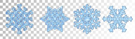 Set of vector snowflakes, ornamental snow crystals, on transparent background.