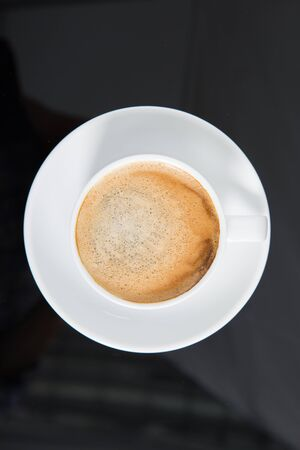 Coffee Cup filled with coffee top view