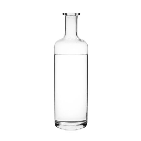 Water and transparent glass bottle on white background