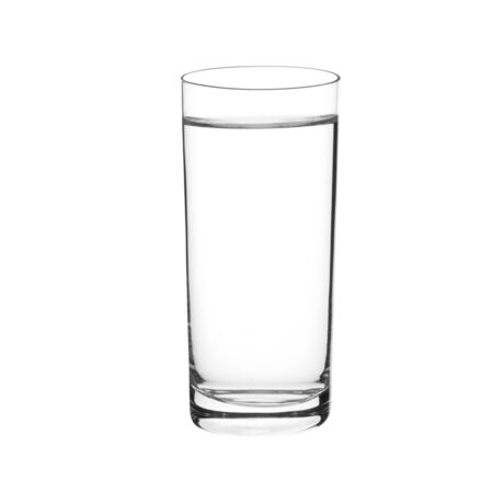 Water in a glass on white background