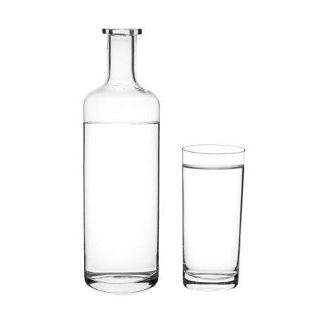 Water and Glass bottle on dark background