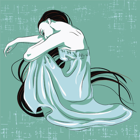 Sad teenager girl with crossed arms and lonely expression Illustration