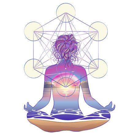 Human silhouette meditating or doing yoga. Metatrons Cube, Flower of life. Sacred geometry abstract background. Good design for textile t-shirt print, colorful poster background. Inner light. Stock Illustratie