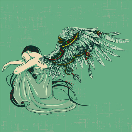 Vector illustration of sad angel with two faded rose.