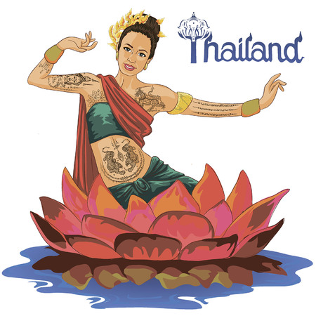Vector art drawing of Thailand dancing art, Thai classical dance, is the main dramatic art form of Thailand. Thai dance, like many forms of traditional asian dance.