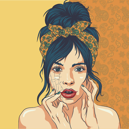 The girl sits at a table and removes make-up with cotton pad. Cosmetics. Time. vector 向量圖像
