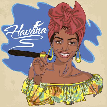 Cara de mujer cubana Ilustración de vector de dibujos animados para cartel de música. Chica de Cuba con decoración floral y cigarro. Cartel grotesco caricatura étnica caribeña Foto de archivo - 89919607