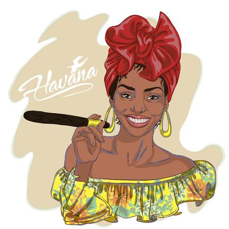 piękna młoda kobieta kubańska trzyma cygaro