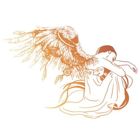 Vectorillustratie van trieste engel