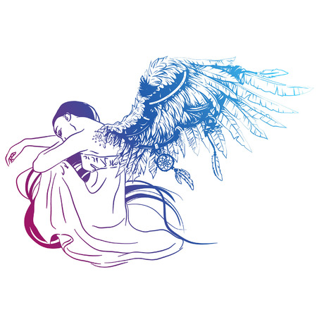 Vector illustration of sad angel