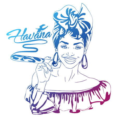 Cuban woman face cartoon vector illustration