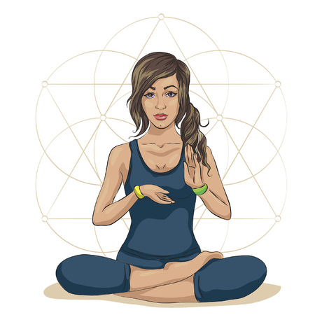 Woman practicing mindfulness meditation sitting in a lotus position surrounded by health and wellness concepts. Ilustração