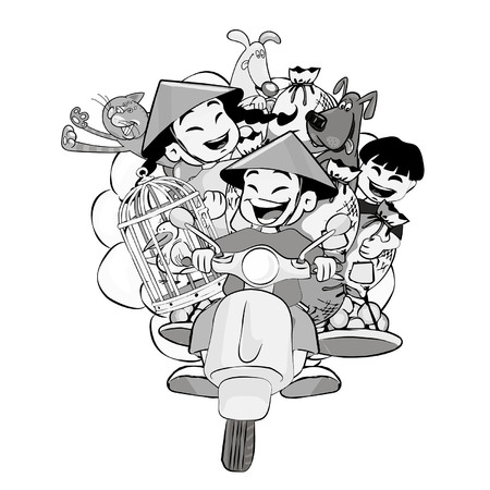 Isolated illustration of people riding mopeds and motorbikes in black and white.