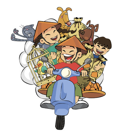 Isolated colored illustration of people riding mopeds and motorbikes