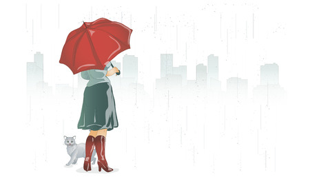 A girl and a cat in the city under an umbrella vector illustration