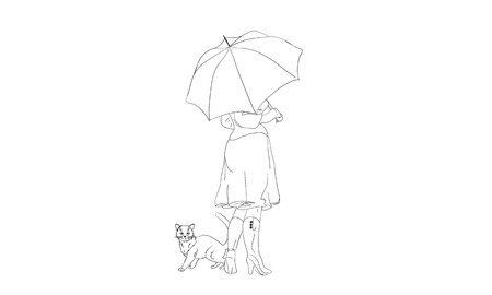 A girl and a cat under an umbrella line vector illustration