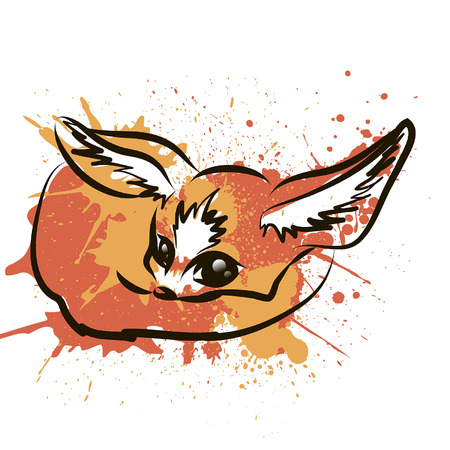 Fennec fox cartoon character. Cute red fennec fox flat vector isolated on white background. African fauna. Fennec icon. Wild animal illustration for zoo ad, nature concept, children book illustrating Vector Illustration