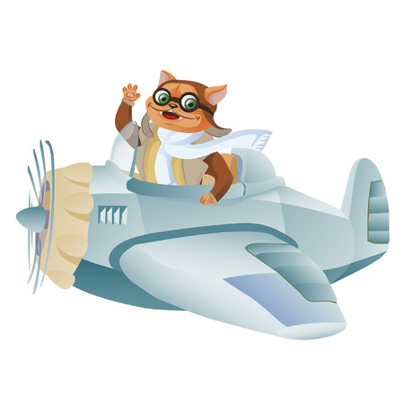 Cute funny animal pilot characters flying on airplane - cat and raccoon.