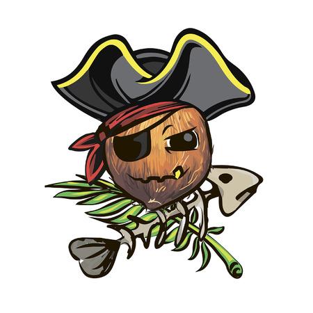 Kokosnootpiraat. kokosnoot in een piratenhoed. een cartoon kokosnotenpiraat.