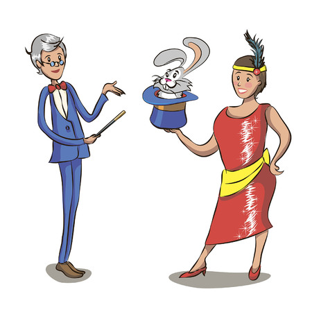 Magician and his assistant girl standing with smiling faces. Mustached man in suit with red cape and top hat. Curly-haired woman in colorful short dress. Circus performance. Flat vector illustration.