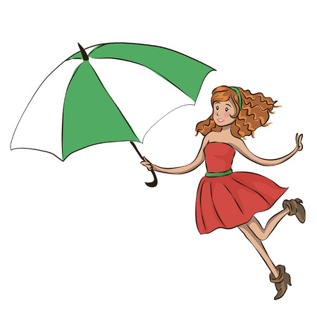 Stylish young fashionable girl under the umbrella, walking in the heavy rain, beautiful flyer or template design for Monsoon Season. Illustration