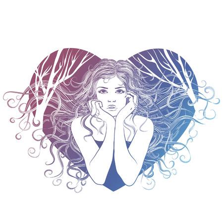 Schattig meisje vector. Illustraties voor kinderen voor schoolboeken en nog veel meer. Individuele objecten. T-shirt met een afbeelding. Het meisje in het hart. Meisje met blazende vlinders. Modieus meisje. Valentijn met een meisje. Voor kleding of andere doeleinden, in een vector.