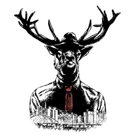 Fashion Illustration of Deer Portrait in Retro Style, Hipster Look. Illustration
