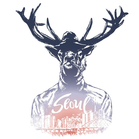 Fashion Illustration of Deer Portrait in Retro Style, Hipster Look, with Seoul calligraphy.