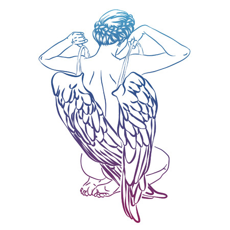 Angel nimmt seine Flügel ab, Rücken des Mädchens mit Flügeln