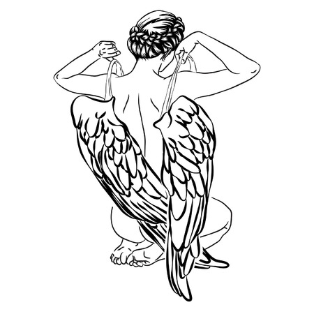 Angel takes off his wings, back of girl with wings