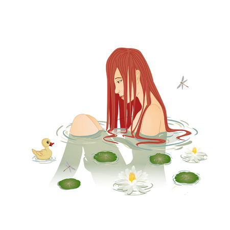 girl bathes in a pond with cups and dragonflies, beautiful naked girl sits in water with rubber dent Illustration