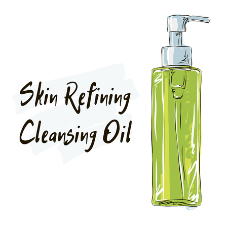 Skin refining cleansing Oil, hydrophobic oil for washing. Illustration