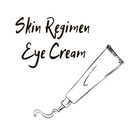 skin regimen Eye cream, sketch of cosmetics
