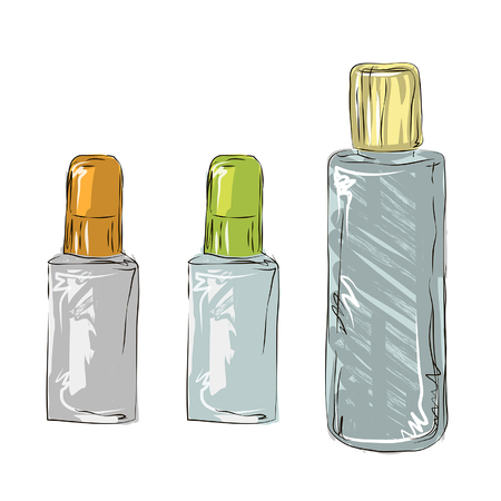 Cosmetic bottle, bottles and cans of cosmetics, sketch of cosmetics, travel kit cosmetics Illustration