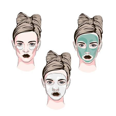 parches debajo de los ojos de una máscara, boceto de cosméticos, cómo aplicar iconos de color de línea de máscara cosmética facial
