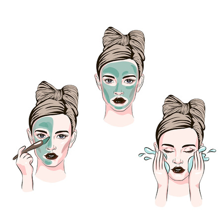 how to apply facial cosmetic mask line color icons set, steps for skin care for beautiful skin with cosmetic masking, sketch of cosmetics, girl uses face masks Ilustração