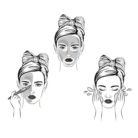 how to apply facial cosmetic mask line color icons set, steps for skin care for beautiful skin with cosmetic masking, sketch of cosmetics, girl uses face masks Stock Vector - 121824671