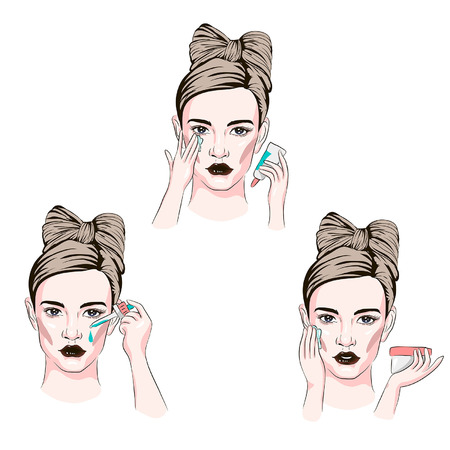 ritual concept with the various actions of a pretty woman with her beauty, sketch of cosmetics