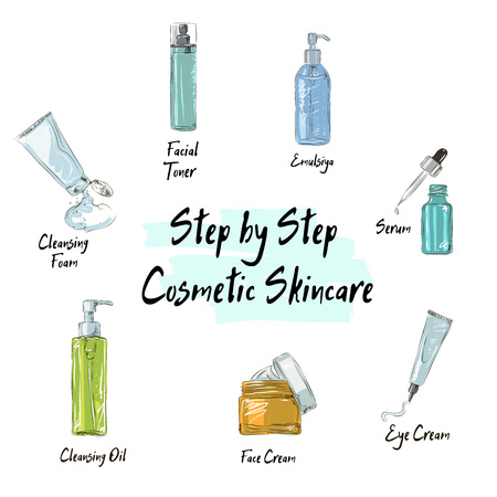 step by step cosmetic care, step by step cosmetic care, step skincare routine for beautiful skin with cosmetic products icons