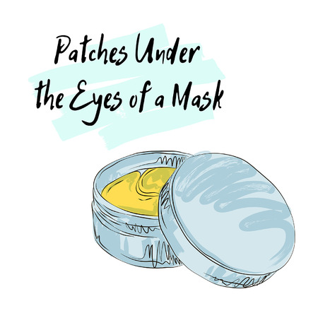 patches under the eyes of a mask, sketch of cosmetics Ilustração