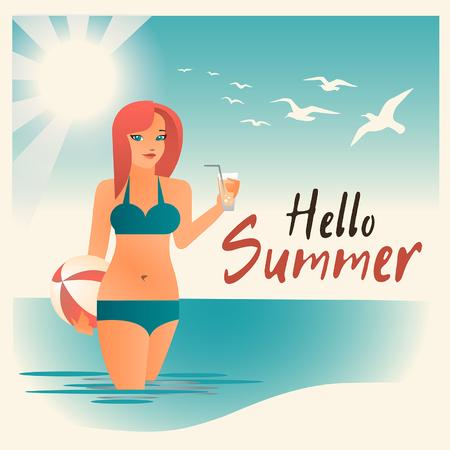 chica en bikini traje de baño, hola verano, vacaciones en la playa, chica en bikini.