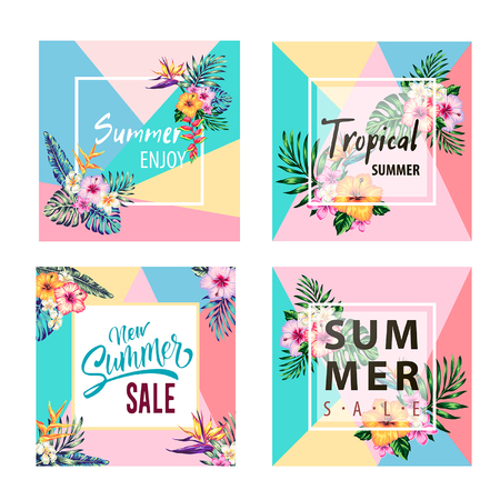 tropical collection with exotic flowers and leaves vector design isolated elements on the white, tropical flowers and palms summer banner graphic background exotic floral invitation flyer Фото со стока - 105393263