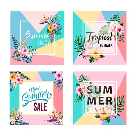 tropische Sammlung mit exotischen Blumen und Blättern Vektor-Design isolierte Elemente auf dem weißen, tropischen Blumen und Palmen Sommer Banner Grafik Hintergrund exotischen Blumen Einladung Flyer